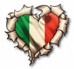 Ripped Torn Metal Heart with Italy Italian il Tricolore Flag Motif External Car Sticker 105x100mm